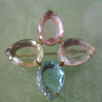 On Sale Vintage Avon Pastel Faceted Glass Pin