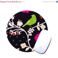 GRAND OPENING SALE Bird Mouse Pad / Encino Japanese Fabric / Home Office Desk Decor / Round Mousepad