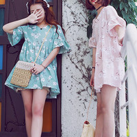 Floral Printed Bell Sleeve Dress