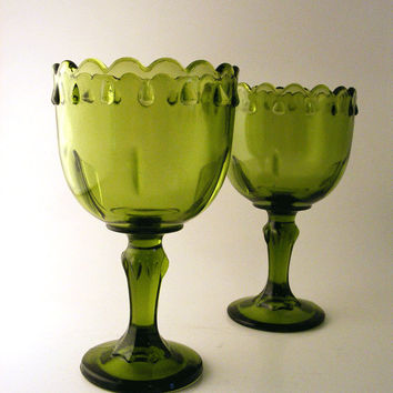Green Goblet Vases Indiana Glass Teardrop Footed Compote Pedestal Scalloped Vintage Planter Avocado Olive Set of 2