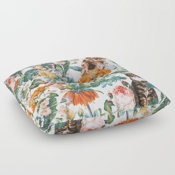 Cat and Floral Pattern III Floor Pillow by Burcu Korkmazyurek