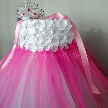 White and pink tutu – princess dress – flower girl tutu – baby tutu dress – roses tutu dress – wedding tutu dress – birthday tutu dress
