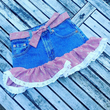 Baby Denim Skirt- Toddler Vintage Skirt- Cute Skirt-  Ruffle Skirt- Girls Bow- 4T Skirt- Red Ruffle Skirt- Vintage Clothing for Children