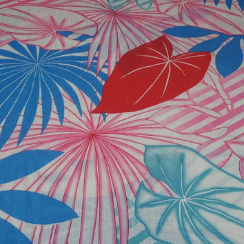 1970s Vintage All Cotton Fabric, Large Print Tropical Floral, Crantex Fabrics, Turquoise, Red, Pink, Blue, BY the YARD, Home Sewing, Vintage