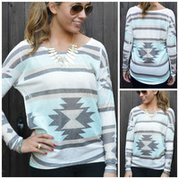 Queen Of The Tribe Mint Aztec Top