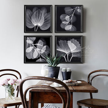 Simple modern style decorative painting wooden frame painting creative flower background home restaurant office decoration mural