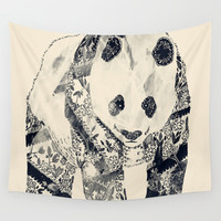 Tattooed Panda {cream} Wall Tapestry by Tobe Fonseca