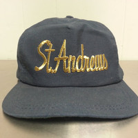 Vintage 80's St Andrews Navy Blue Tourist Snapback Dad Hat Catholic Religon Hipster Style Made In USA
