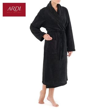 Warm dressing gown from super-soft fleece micro velour with double sided pile