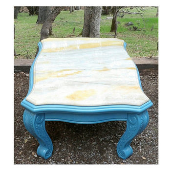 Marble Coffee Table Aqua Wood Carved Base Bright Vibrant Beach House Feel. Perfect Coffee Occasional  Entryway Coastal Living Coast Blue