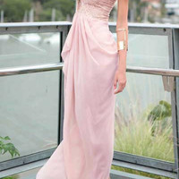 Pink Lace Panel Sleeveless Maxi Dress