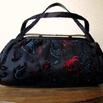 vintage 60s tapestry handbag - Mad Men style purse - doctor bag - fabric purse - black velvet purse- Anthropologie style  - JR USA