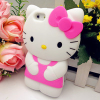 3D Pink Hello Kitty Cute TPU Soft Silicone Back Case Cover Skin for iPhone 5 5th