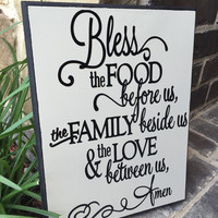 Bless the Food Between us Family beside us and Love between us Wood Sign Plaque Kitchen Dining Room Cream and Black