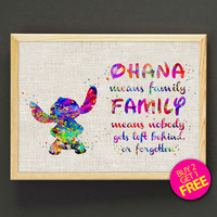 Disney Stitch Watercolor Art Print Stitch OHANA FAMILY Poster House Wear Wall Decor Gift Linen Print - Disney - Buy 2 Get 1 FREE - 21s2g