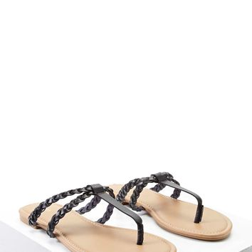 Braided Faux Leather Sandals