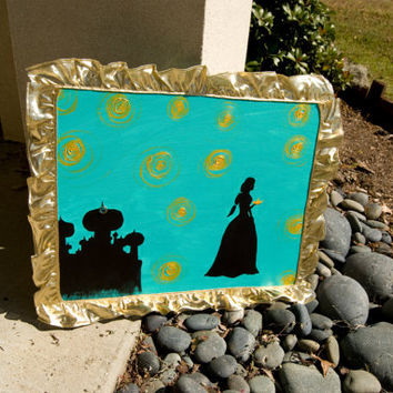 "FREE SHIPPING  ""Jasmine""  Acrylic Silhouette Painting of Jasmine and her Castle with Gold Trim"