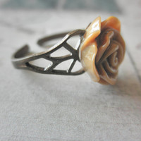 Vintage Look Brass and Mocha Brown Rose Adjustable Ring Lead and Nickel Free