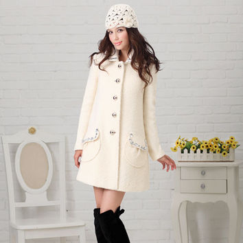 Women's Slim Fit Solid Color Rhinestone Embellishment Turn-down Collar Long Worsted Coat