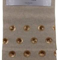 "Kitchen Table Runner Nicole Miller Home Tan Gold Circles 14"" x 72"" Wedding Decor"
