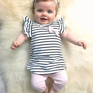 Newborn Baby Girl Clothes Outfit Set Short Sleeve Casual Stripe Cute Bow Tops Pink Pants Headband Infant Clothing 3Pcs Suit