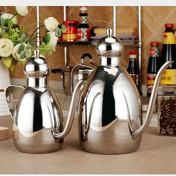 Stainless Steel Leak-proof Oiler Jar Soy Sauce Bottle Olive Oil Vinegar Batcher Bottle Kitchen Supplies Cruet Vinegar Pot