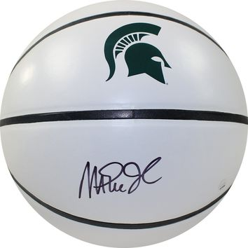 Magic Johnson Signed Michigan State Spartans White Panel Basketball