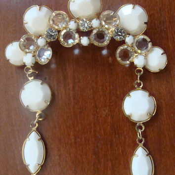 REDUCED Vintage Costume Jewelry signed Kramer Brooch - White & Crystal dangle brooch or Pin - Free Shipping