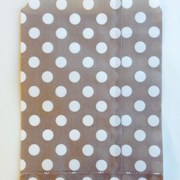 25 Khaki Polka Dot favor bags / Treat Bags / Wedding Favor Bags / Birthdays / Party Favor Bags / Polka Dot Paper Treat Bags / Bakery Bags