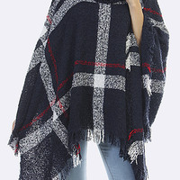 Plaid Fringed Turtleneck Poncho - Navy