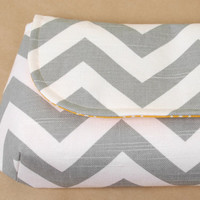 XL Classic Clutch Gray Chevron and Modern Yellow by lenalimestudio