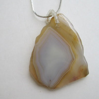 Sliced Agate Pendant Necklace Brown Beige White Gemstone Jewelry
