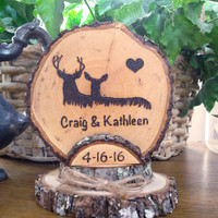 Rustic Deer Wedding Cake Topper / Woodland Wedding Topper / Personalized Topper