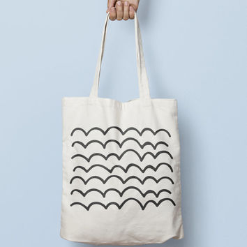 Geometric Tote Bag Hand Drawn Line - Canvas Tote Bag - Printed Tote Bag - Market Bag - Cotton Tote Bag - Large Canvas Tote - Funny Tote Bag