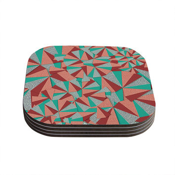 "Danny Ivan ""Marsala Pattern"" Teal Red Coasters (Set of 4)"