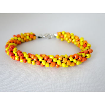 Light my Fire - Kumihimo Beaded Rope Bracelet - Orange Yellow
