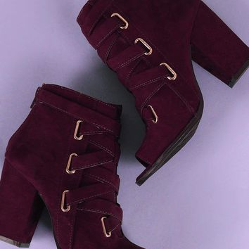 Qupid Suede Peep Toe Corset Lace Up Chunky Heeled Booties