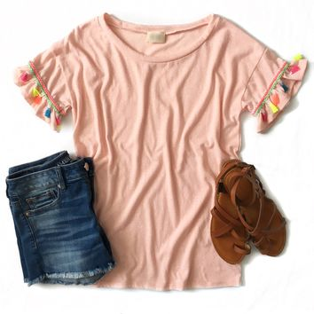 Pink Tassel Sleeve Top