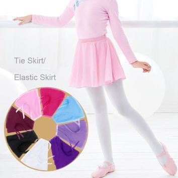 Girls Baby Ballet Skirt Sheer Chiffon Ballet Tutu Pink Kids Gymnastics Leotard Skirts
