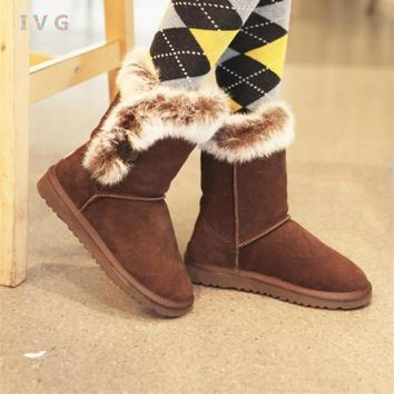 new 2017 Women's winter boots Australia Classic Bailey Button Rabbit hair Snow Boots Warm Rabbit ugs boots Brand IVG size 5-10