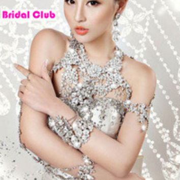 Gorgeous wedding jewelry women long crystal necklace chain body chain jewelry accessories bridal shoulder strap bijouterie