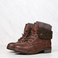 coolway - bring leather knit sweater cuff ankle boots - more colors
