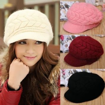 Candy Color Knitting Womens Beanies Hat Peaked Cap Crochet Winter Warm Solid 2sO