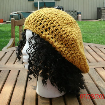 Crocheted Hat  - The Classic in Gold  Crochet Hat