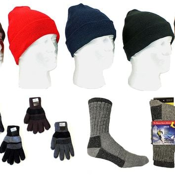 Adult Knit Cuffed Hat, Men's Knit Gloves, and Men' - CASE OF 180