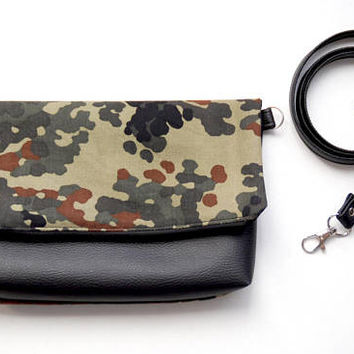 Recycled Army Canvas Fold Over Clutch with Black Vegan Leather, Waxed Cotton Zipper Pouch, Wristlet Pouch