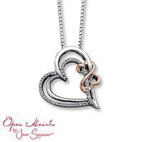 Open Heart Necklace 1/8 ct tw Diamonds Sterling Silver/14K Gold