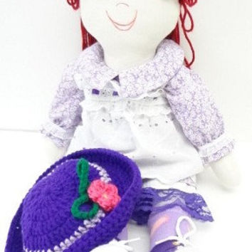 hand made rag dolls stuffed toy  rag doll handmade sweetest thing purple auburn pony tail blue eyes cloth rag doll ragdoll NF85