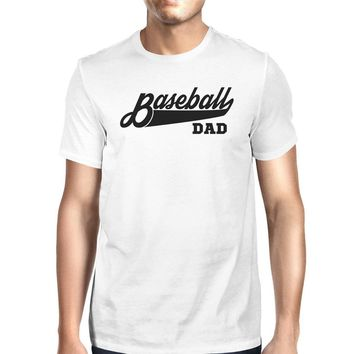 Baseball Dad Men's White Graphic T-Shirt Dad Gifts From Daughter