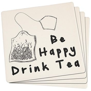 Be Happy Drink Tea Set of 4 Square Sandstone Coasters